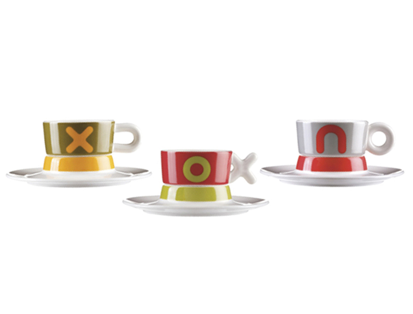 Set 3 tazze caff porcellana mayday multicolore viceversa for Tazzine caffe moderne